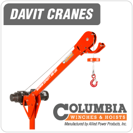 Columbia Davit Cranes, manufactured by Allied Power Products, Inc.